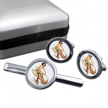 Help Needed Pin-up Girl Round Cufflink and Clip Set