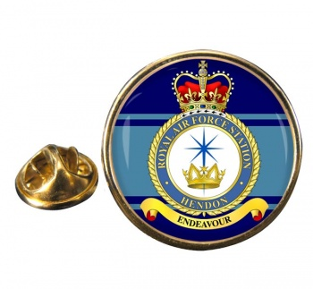 RAF Station Hendon Round Pin Badge