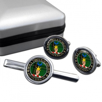 Henderson Scottish Clan Round Cufflink and Tie Clip Set
