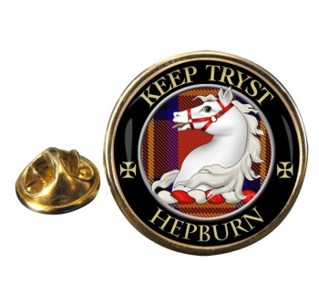 Hepburn Scottish Clan Round Pin Badge