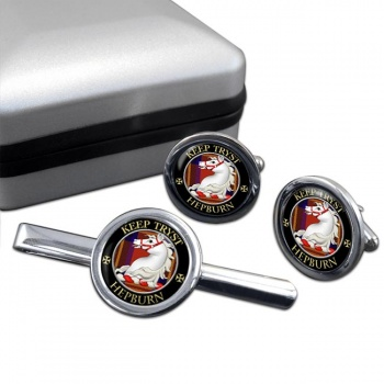 Hepburn Scottish Clan Round Cufflink and Tie Clip Set