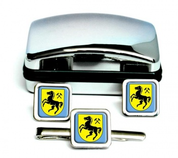 Herne (Germany) Square Cufflink and Tie Clip Set