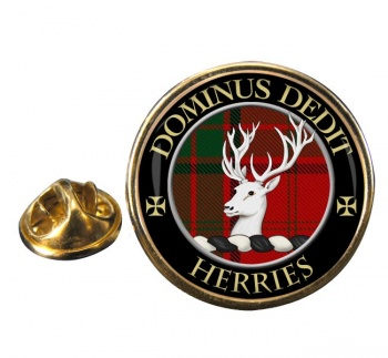 Herries Scottish Clan Round Pin Badge