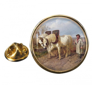 Horse Drawn Harrow by Herring Round Pin Badge