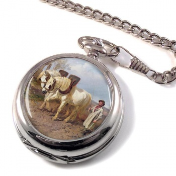 Horse Drawn Harrow by Herring Pocket Watch
