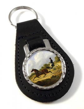 Horse and Gig by Herring Leather Key Fob