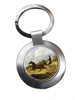 Horse and Gig by Herring Metal Key Ring