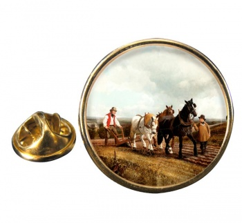 Horse Plough by Herring Round Pin Badge