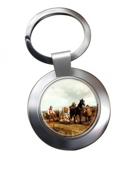 Horse Plough by Herring Metal Key Ring