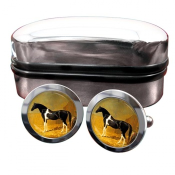 Pie-bald Horse by Herring  Round Cufflinks