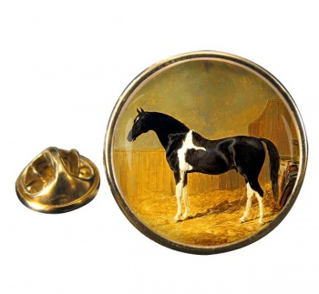Pie-bald Horse by Herring Round Pin Badge