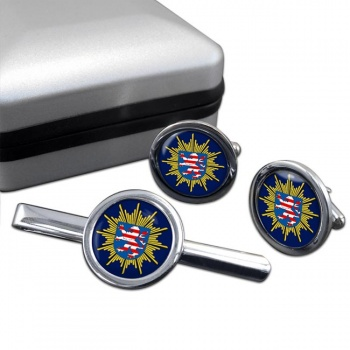 Hessische Polizei Round Cufflink and Tie Clip Set