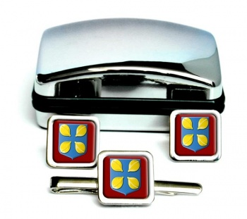 Hilversum (Netherlands) Square Cufflink and Tie Clip Set