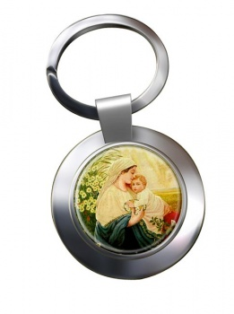 Mother Mary by Adolf Hitler Chrome Key Ring