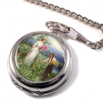 Wild Flowers by Henry King Pocket Watch