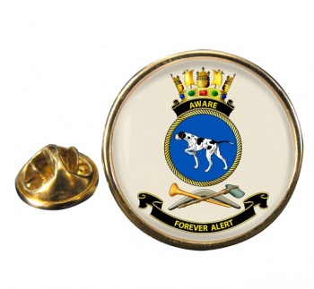 HMAS Aware Round Pin Badge