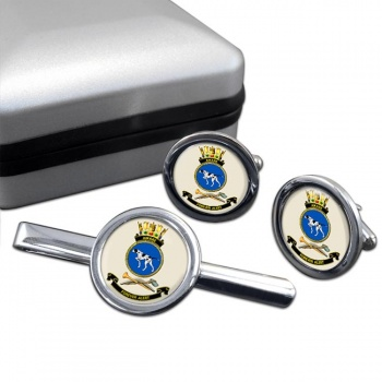 HMAS Aware Round Cufflink and Tie Clip Set