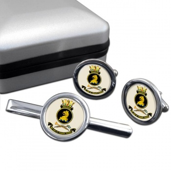 HMAS Brisbane Round Cufflink and Tie Clip Set