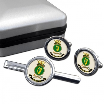 HMAS Castlemaine Round Cufflink and Tie Clip Set