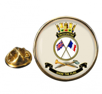 HMAS Encounter Round Pin Badge