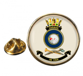 HMAS Harman Round Pin Badge