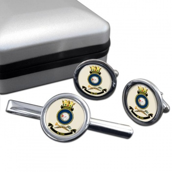 HMAS Harman Round Cufflink and Tie Clip Set