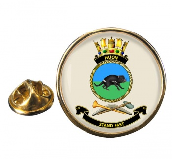 HMAS Huon Round Pin Badge