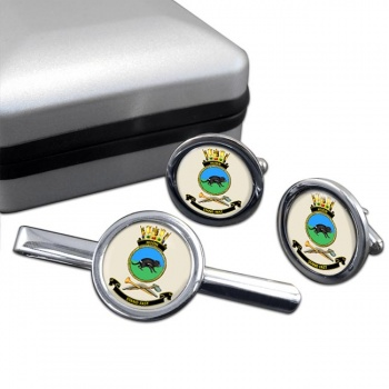 HMAS Huon Round Cufflink and Tie Clip Set