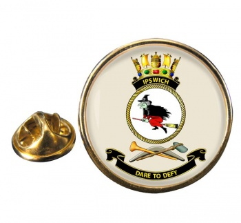 HMAS Ipswich Round Pin Badge