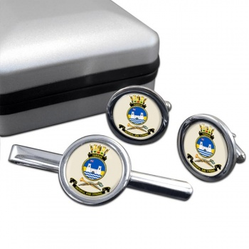 HMAS Tobruk Round Cufflink and Tie Clip Set