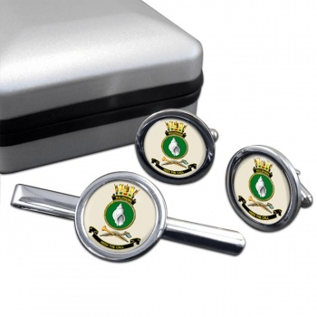 HMAS Wollongong Round Cufflink and Tie Clip Set