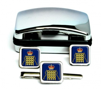 HM Customs Square Cufflink and Tie Clip Set