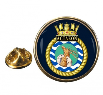 HMS Actaeon (Royal Navy) Round Pin Badge
