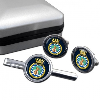 HMS Actaeon (Royal Navy) Round Cufflink and Tie Clip Set