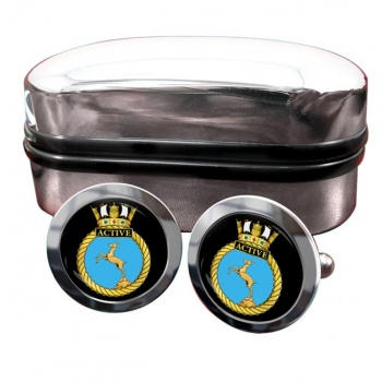 HMS Active (Royal Navy) Round Cufflinks