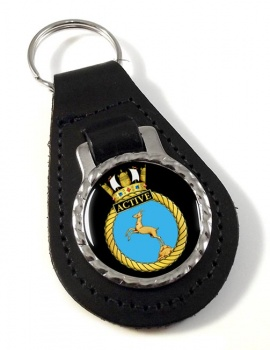 HMS Active (Royal Navy) Leather Key Fob