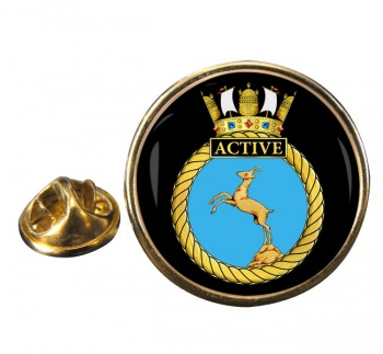 HMS Active (Royal Navy) Round Pin Badge