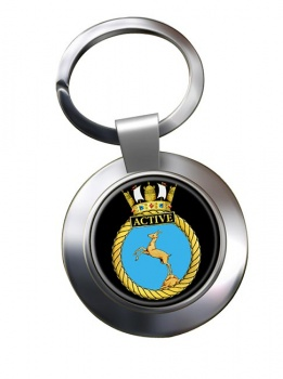 HMS Active (Royal Navy) Chrome Key Ring
