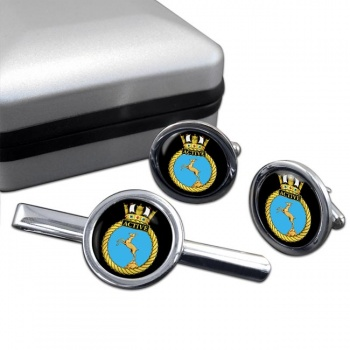 HMS Active (Royal Navy) Round Cufflink and Tie Clip Set