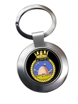 HMS Activity (Royal Navy) Chrome Key Ring