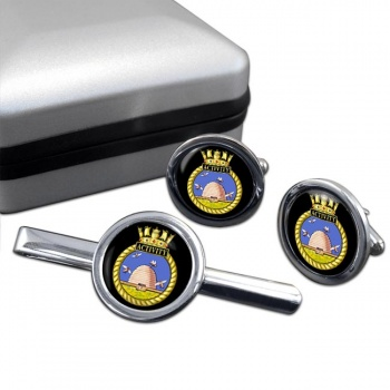 HMS Activity (Royal Navy) Round Cufflink and Tie Clip Set