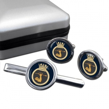 HMS Agamemnon (Royal Navy) Round Cufflink and Tie Clip Set