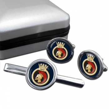 HMS Ajax (Royal Navy) Round Cufflink and Tie Clip Set
