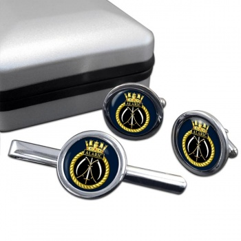 HMS Alaric (Royal Navy) Round Cufflink and Tie Clip Set