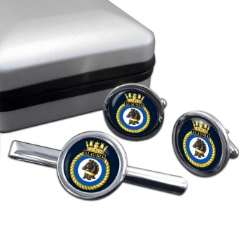 HMS Alaunia (Royal Navy) Round Cufflink and Tie Clip Set