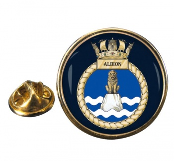 HMS Albion (Royal Navy) Round Pin Badge