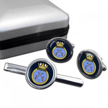 HMS Algerine (Royal Navy) Round Cufflink and Tie Clip Set