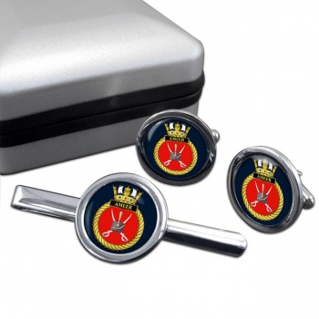 HMS Ameer (Royal Navy) Round Cufflink and Tie Clip Set