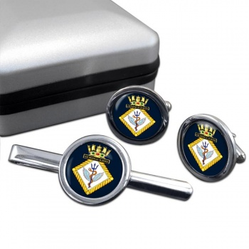 Air Medical School Royal Navy Round Cufflink and Tie Clip Set