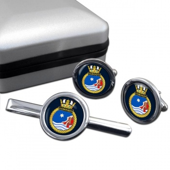 HMS Andromeda (Royal Navy) Round Cufflink and Tie Clip Set